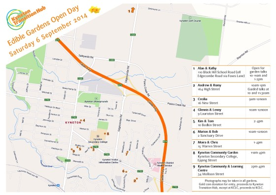 KTH Edible Gardens Open Day Map - Sept 2014